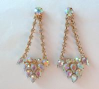 Vintage Art Deco Style Aurora Borealis Drop Earrings